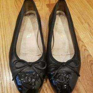 Black Chanel Flats Size 7.5